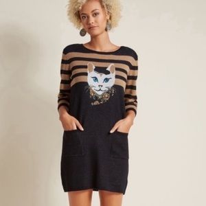 NWT Modcloth cat feline well styled sweater dress
